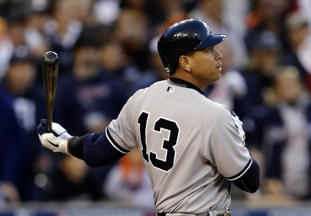 New York Yankees' Alex Rodriguez watches as he flies out in the sixth inning during Game 4 of the American League championship series against the Detroit Tigers Thursday, Oct. 18, 2012, in Detroit. (AP Photo/Paul Sancya )