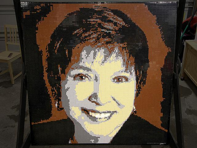 A Lego mosaic built on commission for the retirement of SAIT (Southern Alberta Institute of Technology) President Irene Lewis.
