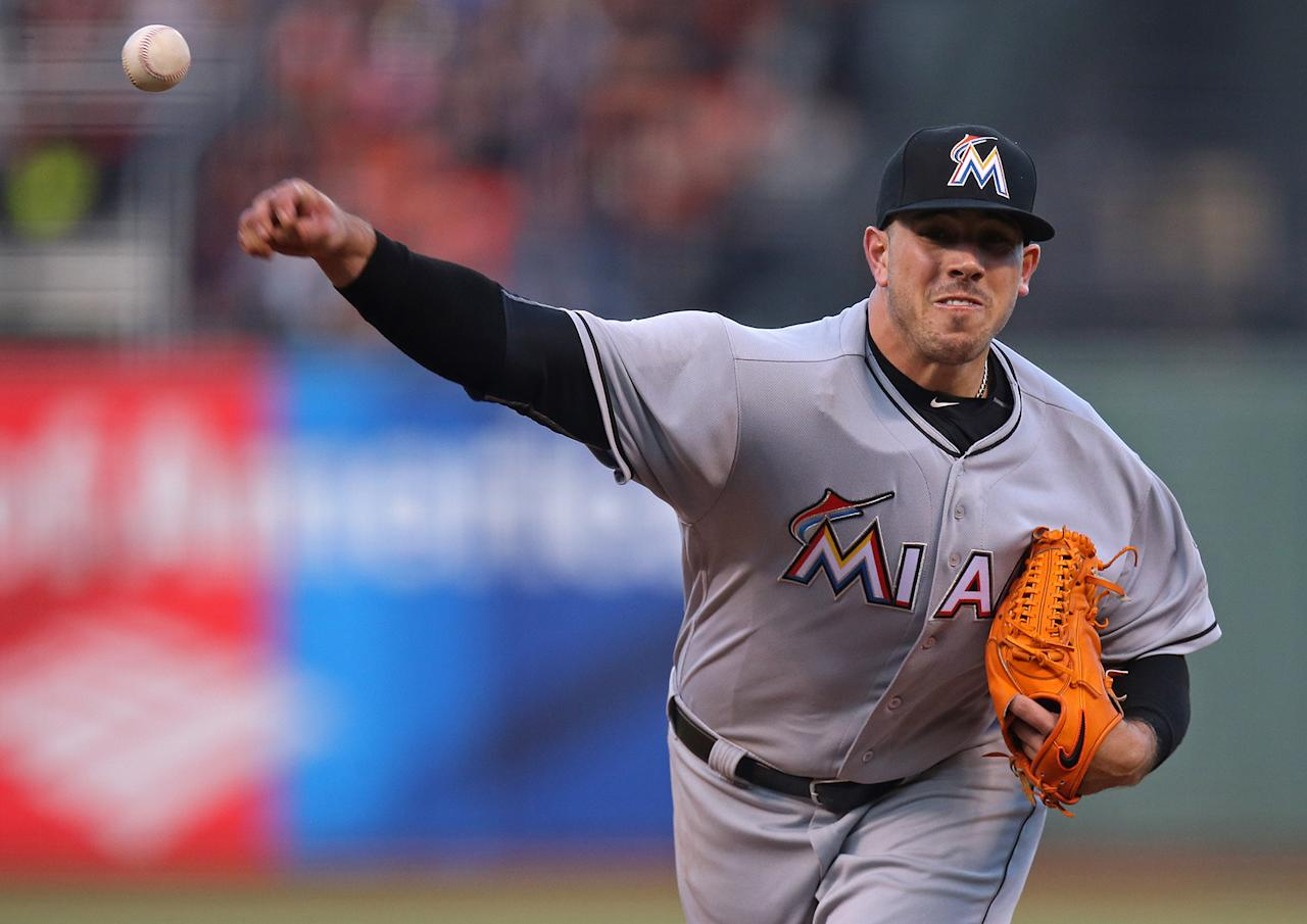 <p>Jose Fernandez of the Miami Marlins pitches against the San Francisco Giants during the game at AT&T Park on Saturday, April 23, 2016 in San Francisco, California. (Brad Mangin/MLB Photos via Getty Images) </p>