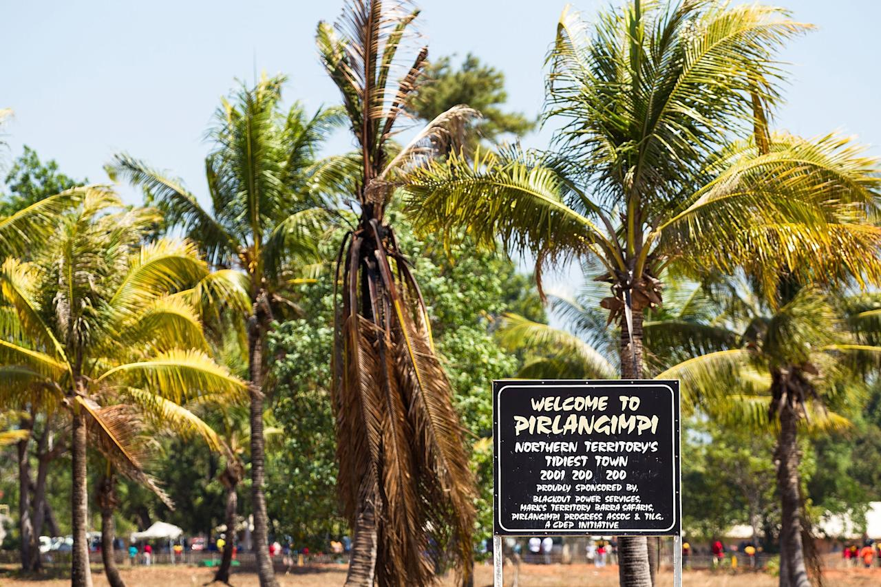 DARWIN, AUSTRALIA - AUGUST 10: A welcome sign is pictured during a visit to Pirlangimpi of the Tiwi Islands by the Australian cricket team on August 10, 2012 on the Tiwi Islands, Australia.  (Photo by Mark Nolan/Getty Images)
