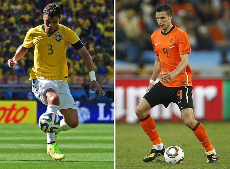 A combination of pictures shows Netherlands' striker and captain Robin van Persie (R) in Durban on June 28, 2010 and Brazil's defender and captain Thiago Silva in Belo Horizonte on June 28, 2014