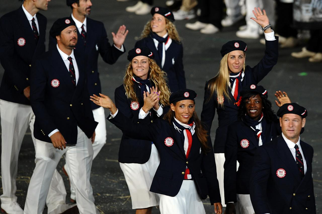 LONDON, ENGLAND - JULY 27:  Athletes from the United States parade into the stadium during the Opening Ceremony of the London 2012 Olympic Games at the Olympic Stadium on July 27, 2012 in London, England.  (Photo by Laurence Griffiths/Getty Images)