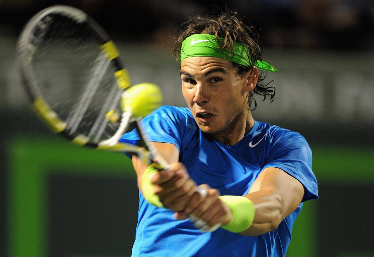 Rafael Nadal of Spain in action during his match against Radek Stepanek of the Czech Republic during day 7 of the Sony Ericsson Open at Crandon Park Tennis Center on March 25, 2012 in Key Biscayne, Florida.