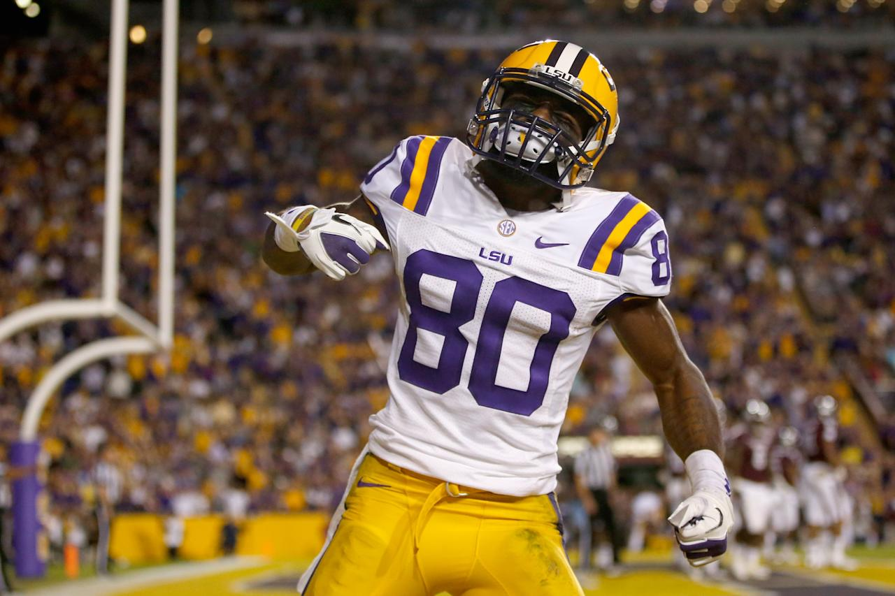 BATON ROUGE, LA - NOVEMBER 10:  Jarvis Landry #80 of the LSU Tigers celebrates after scoring a touchdown against the Mississippi State Bulldogs at Tiger Stadium on November 10, 2012 in Baton Rouge, Louisiana.  (Photo by Chris Graythen/Getty Images)