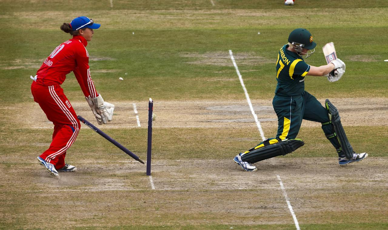 Australia's Jess Cameron is clean bowled by England's Katherine Brunt for 81 during the One Day International at The County Ground, Hove.