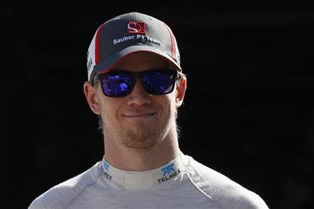 Sauber Formula One driver Nico Hulkenberg of Germany looks on during during the second practice session of the Monaco F1 Grand Prix