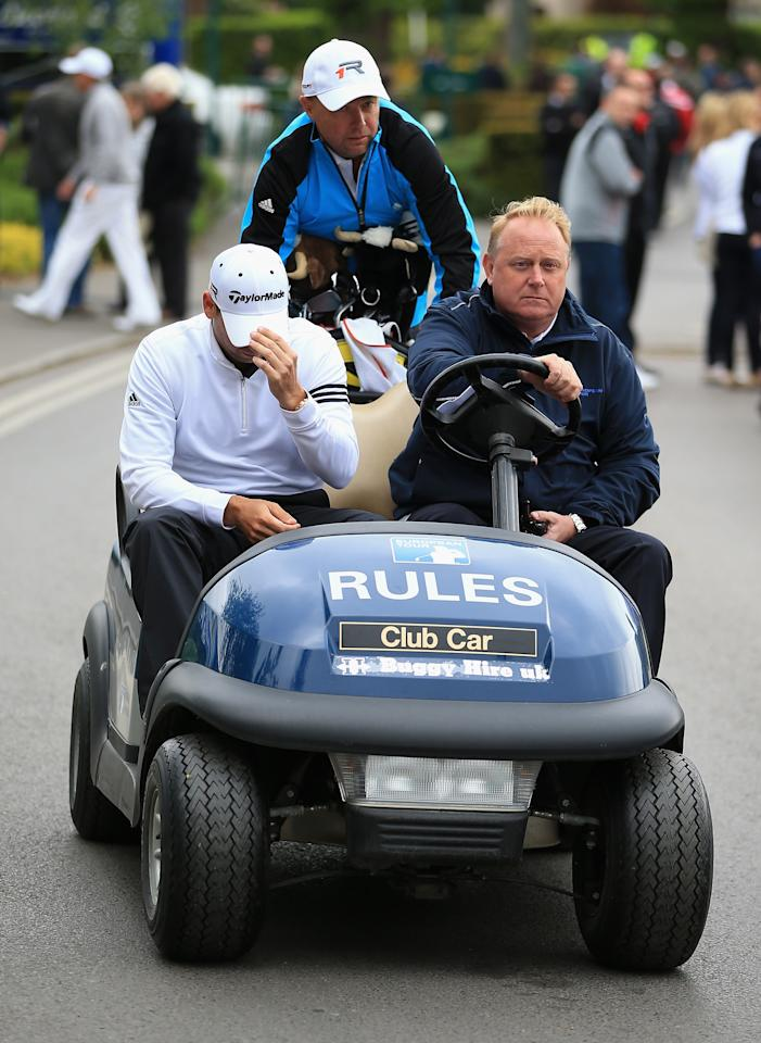 VIRGINIA WATER, ENGLAND - MAY 22:  Sergio Garcia of Spain is driven to a press conference during the Pro-Am round prior to the BMW PGA Championship on the West Course at Wentworth on May 22, 2013 in Virginia Water, England.  (Photo by Richard Heathcote/Getty Images)