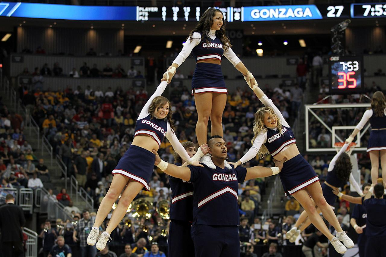 Gonzaga Bulldogs cheerleaders perform during the second round of the 2012 NCAA Men's Basketball Tournament against the West Virginia Mountaineers at Consol Energy Center on March 15, 2012 in Pittsburgh, Pennsylvania.  (Photo by Gregory Shamus/Getty Images)