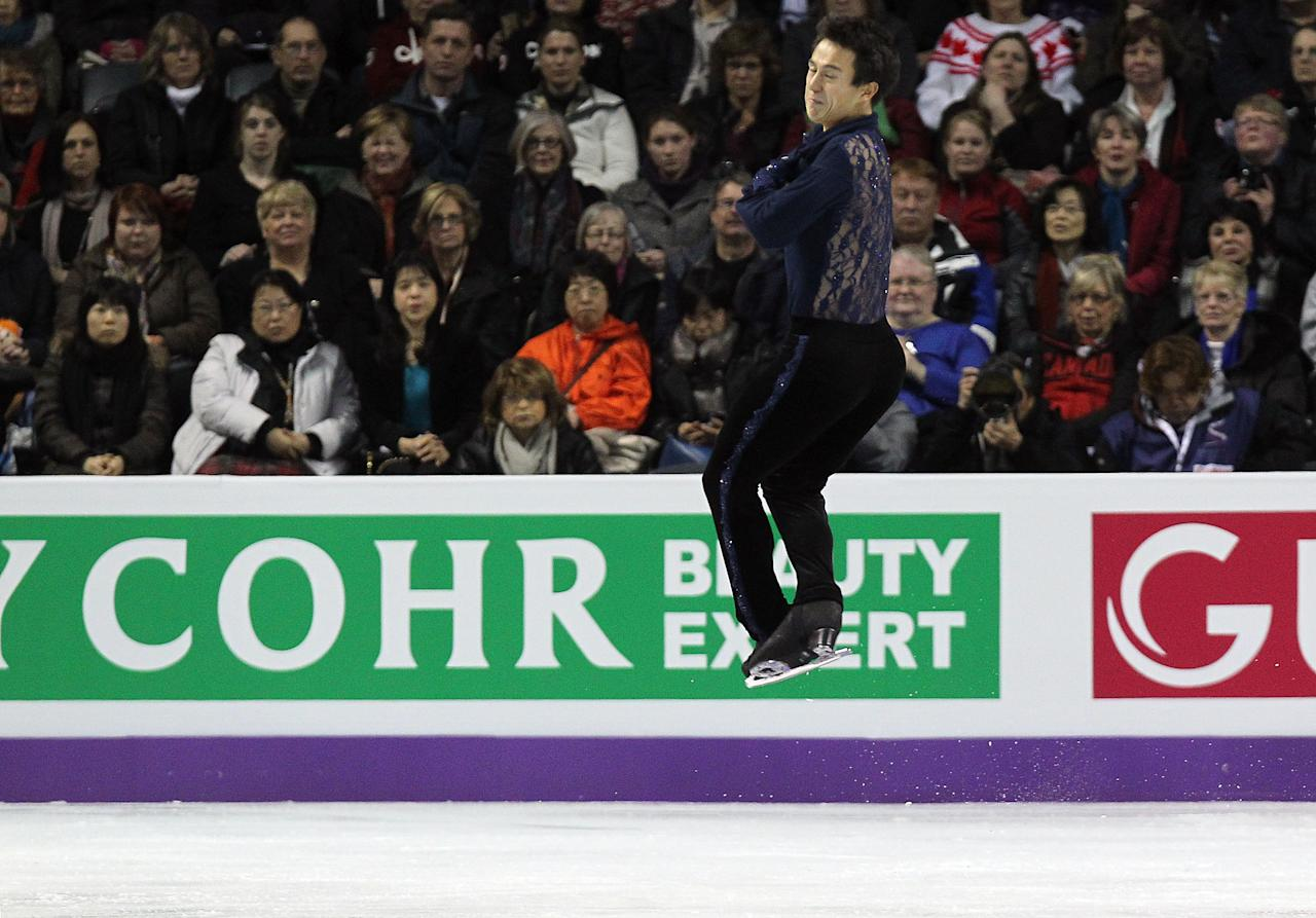 LONDON, CANADA - MARCH 13:  Patrick Chan of Canada skates in the Men's Short Program during the 2013 ISU World Figure Skating Championships at Budweiser Gardens on March 13, 2013 in London, Ontario, Canada.  (Photo by Dave Sandford/Getty Images)