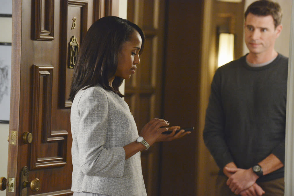 """""""A Woman Scorned"""" - The team continue their investigation into the mole and make a shocking discovery in the process. Meanwhile Fitz orders Jake to continue to protect Olivia, who is still very much in danger, and back at the White House Mellie's ultimatum forces Cyrus into the role of """"fixer,"""" on """"Scandal."""""""