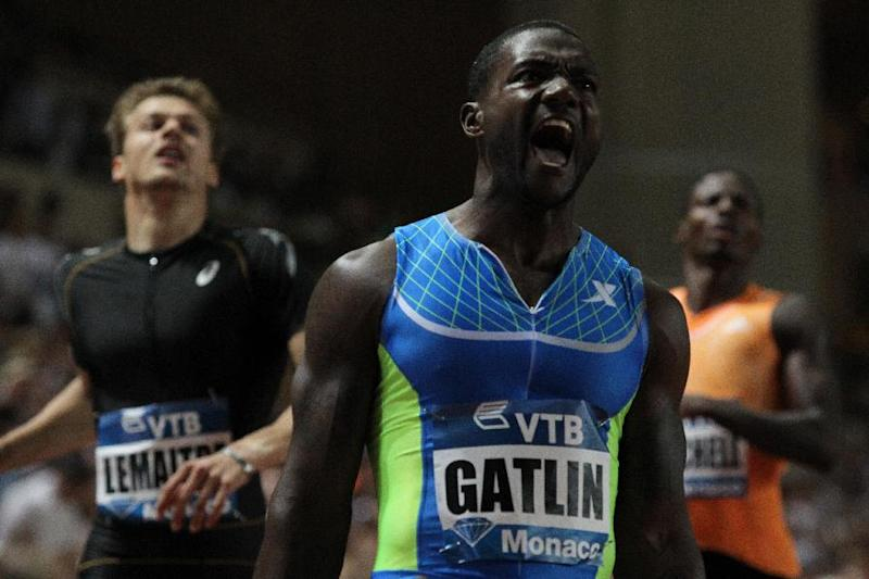 US sprinter Justin Gatlin reacts after winning the 200m men event during the IAAF Diamond League Herculis meeting at the Stade Louis II on July 18, 2014 in Monaco
