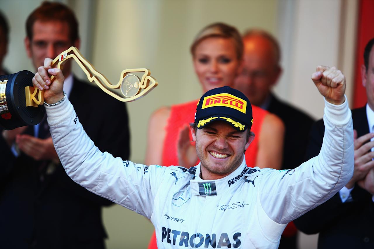 MONTE-CARLO, MONACO - MAY 26:  Nico Rosberg of Germany and Mercedes GP celebrates after winning the Monaco Formula One Grand Prix at the Circuit de Monaco on May 26, 2013 in Monte-Carlo, Monaco.  (Photo by Clive Mason/Getty Images)