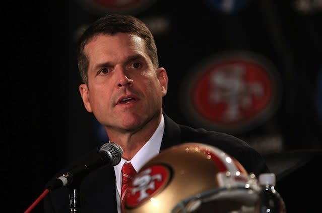 49ers and former Stanford head coach Jim Harbaugh — Getty Images