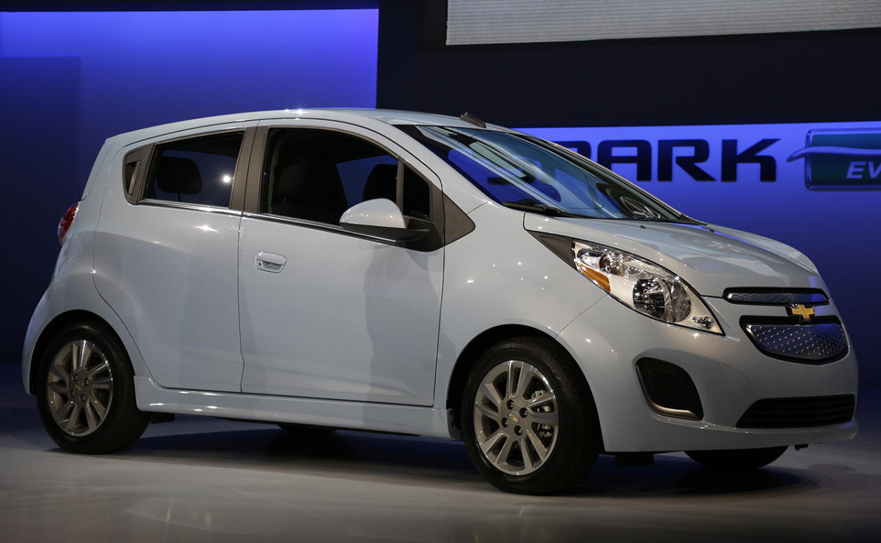 <b>Chevy Spark EV</b><br><br>Chevy Spark EV is shown during it's world debut at the LA Auto Show.