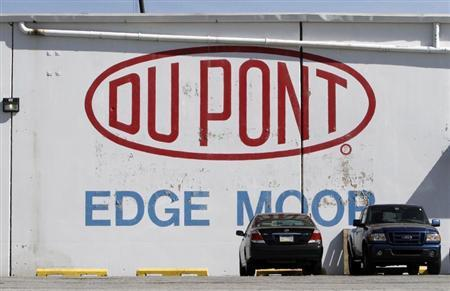 A view of the Dupont logo on a wall at the Dupont Edge Moor facility near Wilmington, Delaware