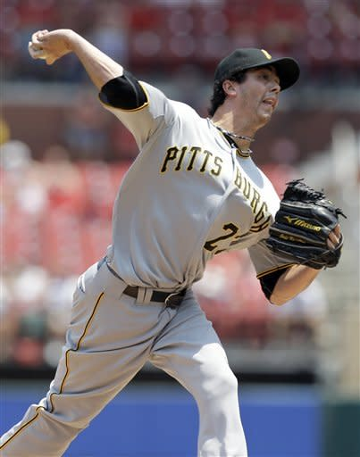 Pittsburgh Pirates starting pitcher Jeff Karstens throws during the first inning of a baseball game against the St. Louis Cardinals Saturday, June 30, 2012, in St. Louis. (AP Photo/Jeff Roberson)