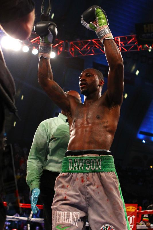 ATLANTIC CITY, NJ - APRIL 28:  Chad Dawson reacts at the end of the 12th round against Bernard Hopkins during their WBC & Ring Magazine Light Heavyweight Title fight at Boardwalk Hall Arena on April 28, 2012 in Atlantic City, New Jersey. Dawson was declared the winner by decision. (Photo by Al Bello/Getty Images)