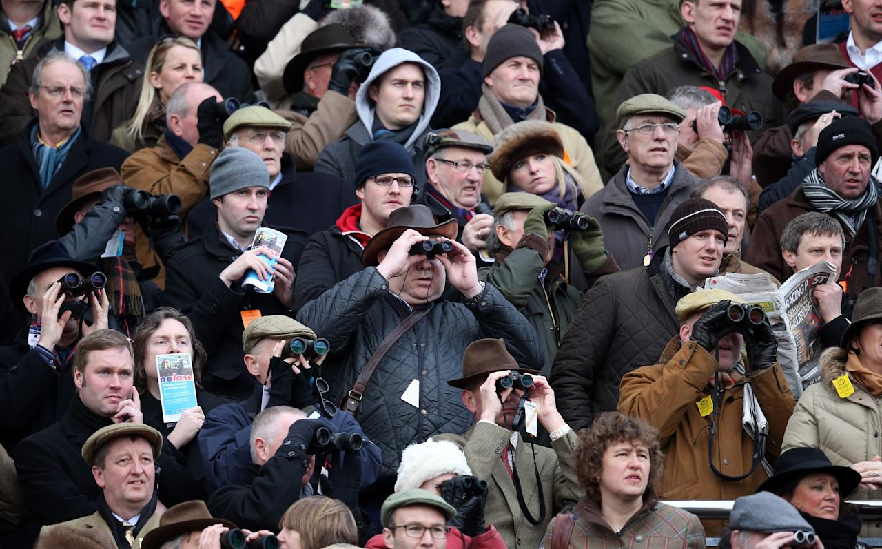 CHELTENHAM, ENGLAND - MARCH 13:  Racegoers follow use binoculars to follow the action during the first race on Ladies Day at Cheltenham Racecourse on the second day of the Cheltenham Festival 2013 on March 13, 2013 in Cheltenham, England.   Approximately 200,000 racing enthusiasts are expected at the four-day festival, which opened today and is seen by many as the highlight of the jump racing calendar.  (Photo by Matt Cardy/Getty Images)