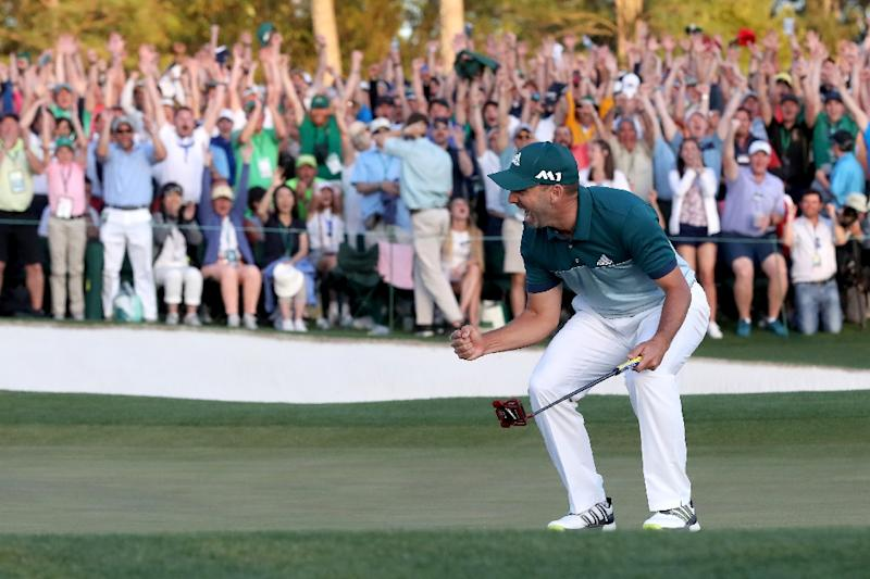 Sergio Garcia of Spain celebrates after defeating Justin Rose of England on the first playoff hole during the final round of the 2017 Masters Tournament at Augusta National Golf Club