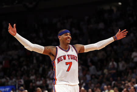 Knicks' Anthony reacts during NBA Eastern Conference basketball playoff series in New York