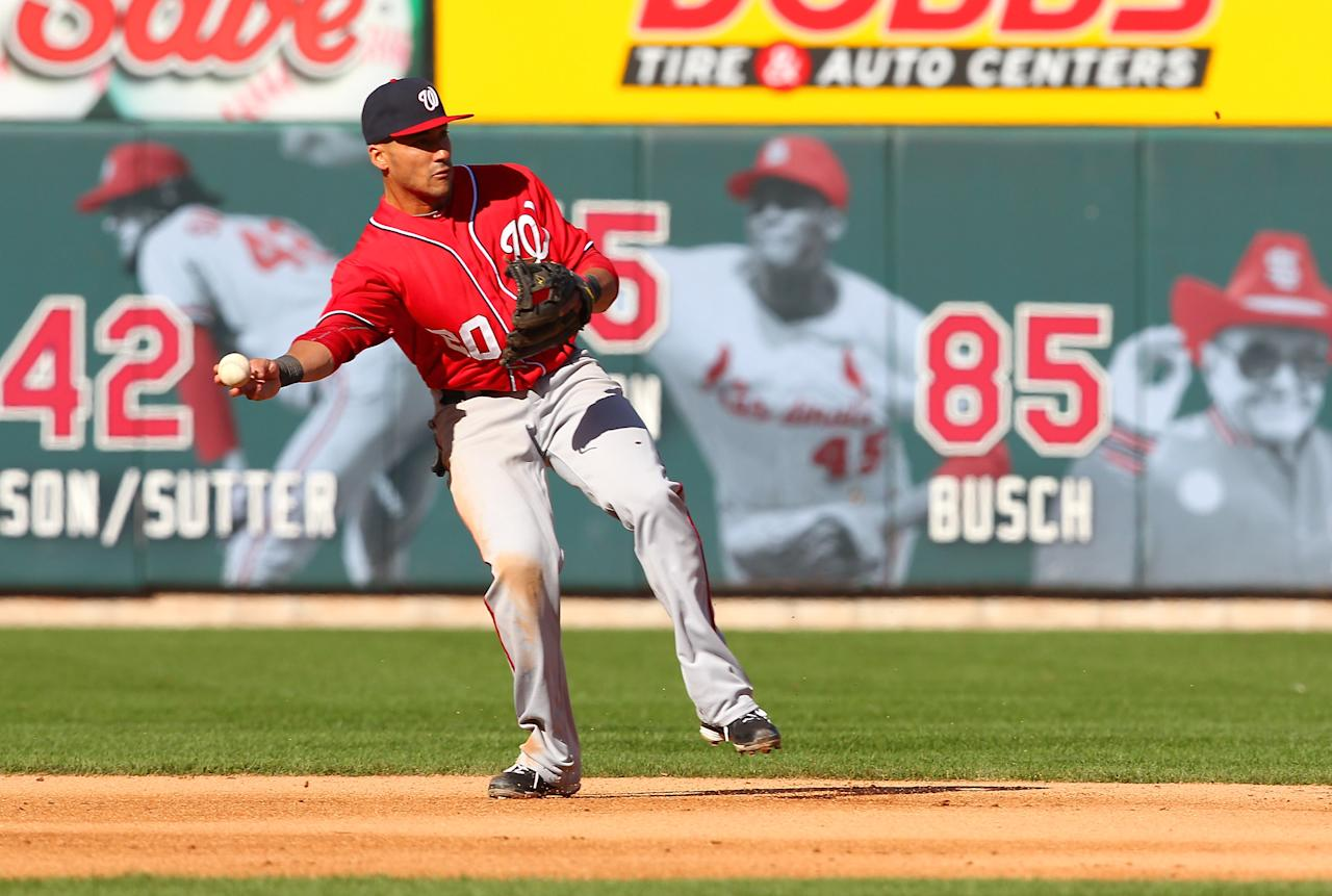 ST LOUIS, MO - OCTOBER 07: Ian Desmond #20 of the Washington Nationals throws to second for a double play in the fourth inning against the St Louis Cardinals during Game One of the National League Division Series at Busch Stadium on October 7, 2012 in St Louis, Missouri.  (Photo by Dilip Vishwanat/Getty Images)