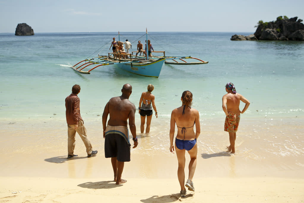 """""""Blindside Time"""" - John Cochran, Phillip Sheppard, Dawn Meehan, Corinne Kaplan and Michael Snow get ready for the merge during the eighth episode of """"Survivor: Caramoan - Fans vs. Favorites."""""""