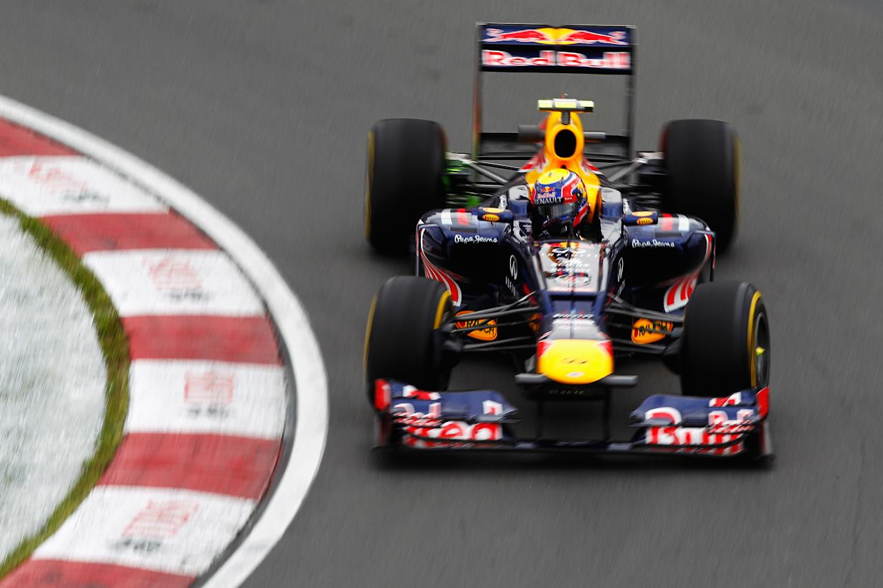 MONTREAL, CANADA - JUNE 08:  Mark Webber of Australia and Red Bull Racing drives during practice for the Canadian Formula One Grand Prix at the Circuit Gilles Villeneuve on June 8, 2012 in Montreal, Canada.  (Photo by Paul Gilham/Getty Images)