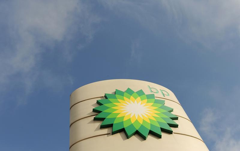A logo on a British Petroleum petrol station is seen in London