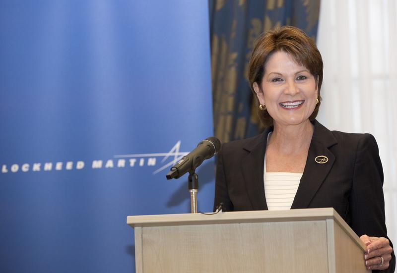 Chief Executive Officer and President of Lockheed Martin Corporation Marillyn A. Hewson speaks at a news conference in London