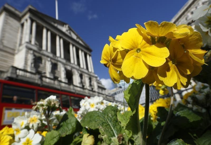 Primulas bloom outside the Bank of England in the City of London