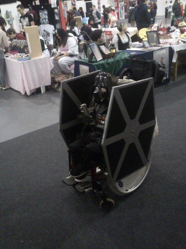 tie fighter comic con vader wheel chair