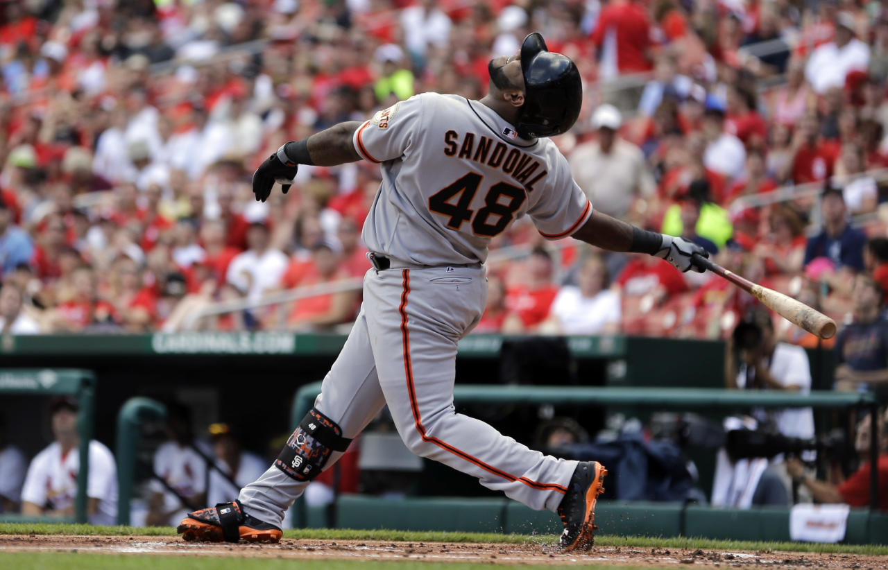 San Francisco Giants' Pablo Sandoval watches a popup during the first inning of a baseball game against the St. Louis Cardinals Sunday, June 1, 2014, in St. Louis. (AP Photo/Jeff Roberson)