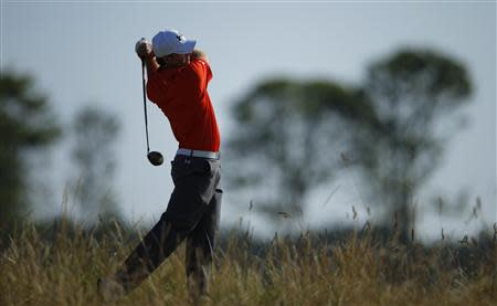 Jordan Spieth of the U.S. watches his tee shot during the second round of the British Open golf Championship at Muirfield in Scotland