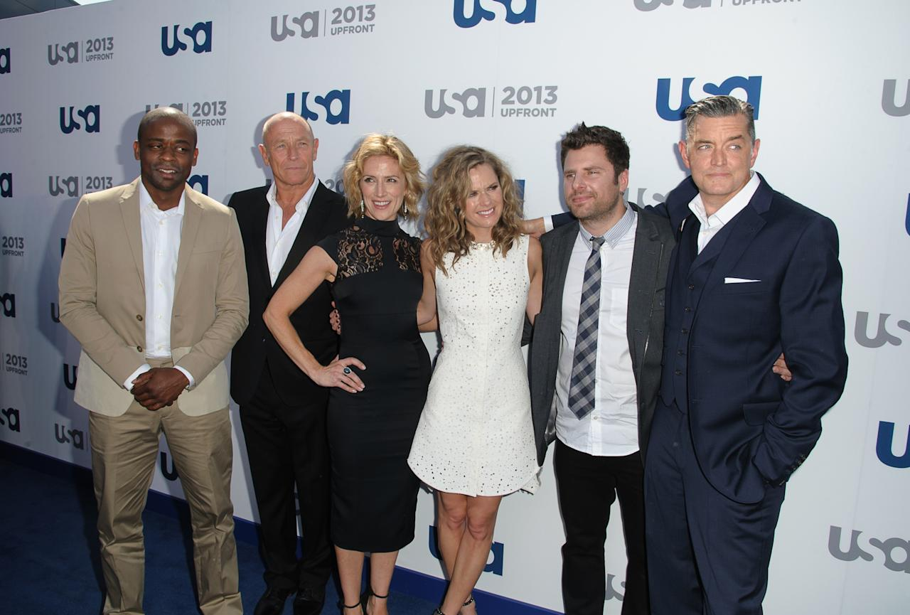NEW YORK, NY - MAY 16:   Dule Hill, Corbin Bernsen, Kirsten Nelson, Maggie Lawson, James Roday, Timothy Omundson attends USA Network 2013 Upfront Event at Pier 36 on May 16, 2013 in New York City.  (Photo by Dave Kotinsky/Getty Images)