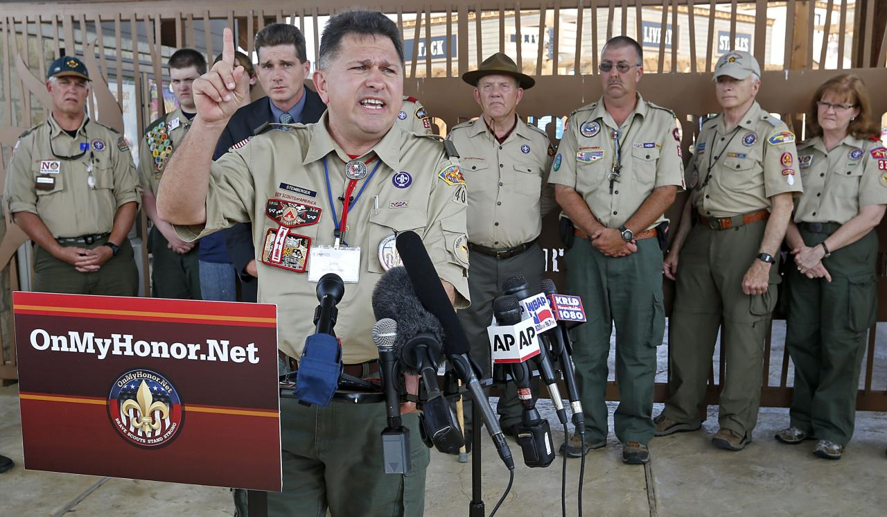 "GRAPEVINE, TX - MAY 23:  Boy Scout leader John Stemberger, founder of OnMyHonor.net, speaks to reporters at the Gaylord Texan Resort May 23, 2013 in Grapevine, Texas. The Boy Scouts of America today ended its policy of prohibitting openly gay youths from participating in Scout activities, while leaving intact its ban on gay adults and leaders. The OnMyHonor.net website says it supports ""Scouting's timeless values and their opposition to open homosexuality in the Scouts.  (Photo by Stewart House/Getty Images)"