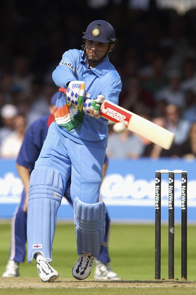 LONDON, ENGLAND - JULY 13:  Sourav Ganguly of India on his way to his fifty during the match between England and India in the NatWest One Day Series Final at Lord's in London, England on July 13, 2002. (Photo by Tom Shaw/Getty Images)