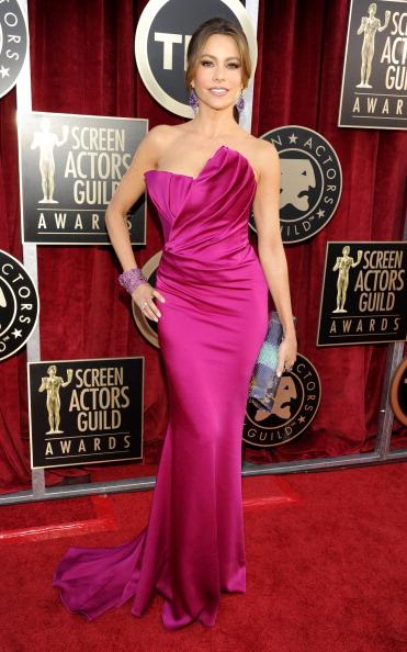 """<div class=""""caption-credit""""> Photo by: Getty Images</div><div class=""""caption-title"""">Red-pink at the SAG Awards</div>Vergara was luminous in a strapless, fuschia Marchesa gown at this year's Screen Actors Guild Awards, where she was nominated for Best Comedy Actress."""