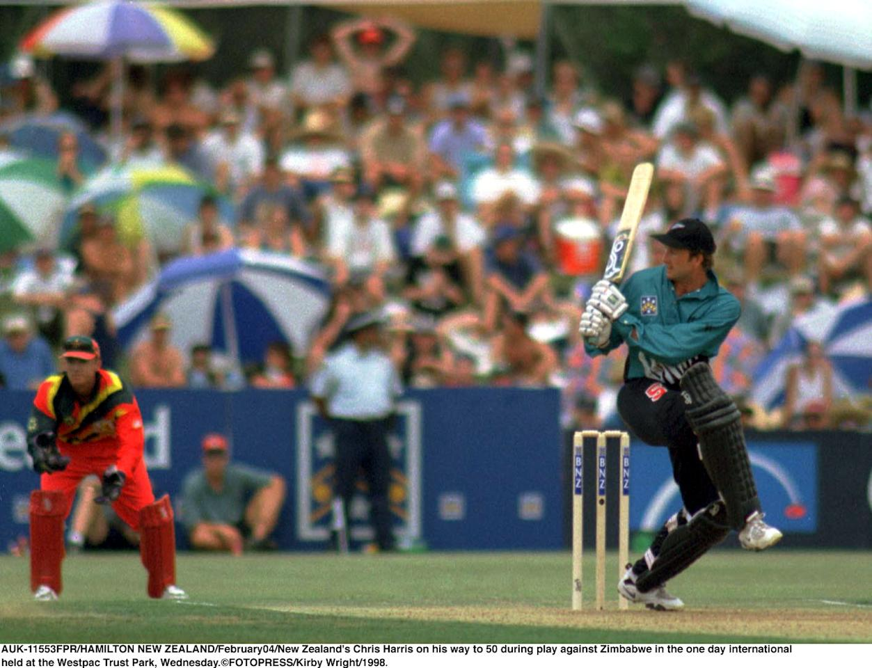 NEW ZEALAND - FEBRUARY 04:  New Zealand's Chris Harris on his way to 50 during play against Zimbabwe in the one day international held at the Westpac Trust Park, Wednesday.  (Photo by Kirby Wright/Getty Images)