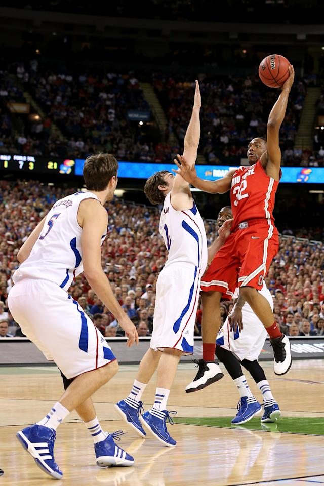 NEW ORLEANS, LA - MARCH 31:  Lenzelle Smith, Jr. #32 of the Ohio State Buckeyes shoots the ball over Conner Teahan #2 of the Kansas Jayhawks in the first half during the National Semifinal game of the 2012 NCAA Division I Men's Basketball Championship at the Mercedes-Benz Superdome on March 31, 2012 in New Orleans, Louisiana.  (Photo by Jeff Gross/Getty Images)