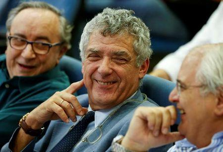 Football Soccer - Presentation of new national team soccer coach - Las Rozas, near Madrid, Spain - 21/7/16 - Angel Maria Villar (C), Spain's football federation (RFEF) president, laughs. REUTERS/Andrea Comas
