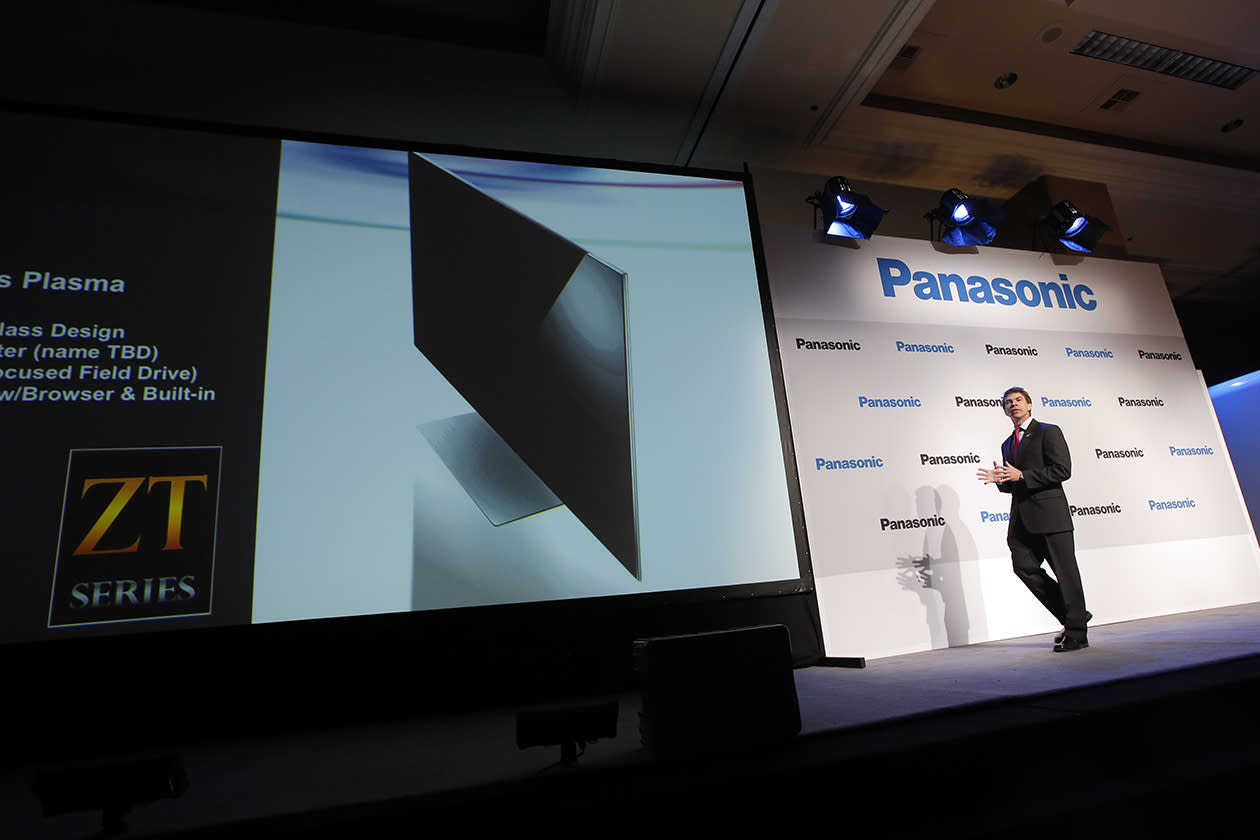 Panasonic's Vic Carlson, right, introduces the new television during a news conference at the International Consumer Electronics Show in Las Vegas.