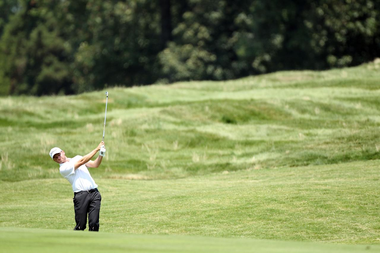 MEMPHIS, TN - JUNE 08:  John Merrick hits his second shot on the par 4 7th hole  during the second round of the FedEx St. Jude Classic at TPC Southwind on June 8, 2012 in Memphis, Tennessee.  (Photo by Andy Lyons/Getty Images)