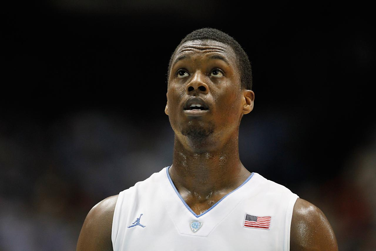 CHAPEL HILL, NC - FEBRUARY 08: Harrison Barnes #40 of the North Carolina Tar Heels shoots a free throw against the Duke Blue Devils during their game at the Dean Smith Center on February 8, 2012 in Chapel Hill, North Carolina.  (Photo by Streeter Lecka/Getty Images)