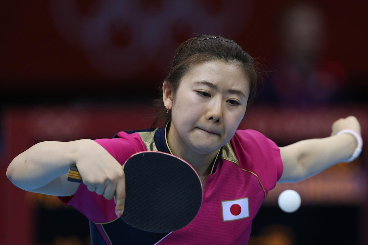 LONDON, ENGLAND - JULY 29:  Ai Fukuhara of Japan plays a backhand in her Women's Singles Table Tennis third round match against Anna Tikhomirova of Russia on Day 2 of the London 2012 Olympic Games at ExCeL on July 29, 2012 in London, England.  (Photo by Feng Li/Getty Images)