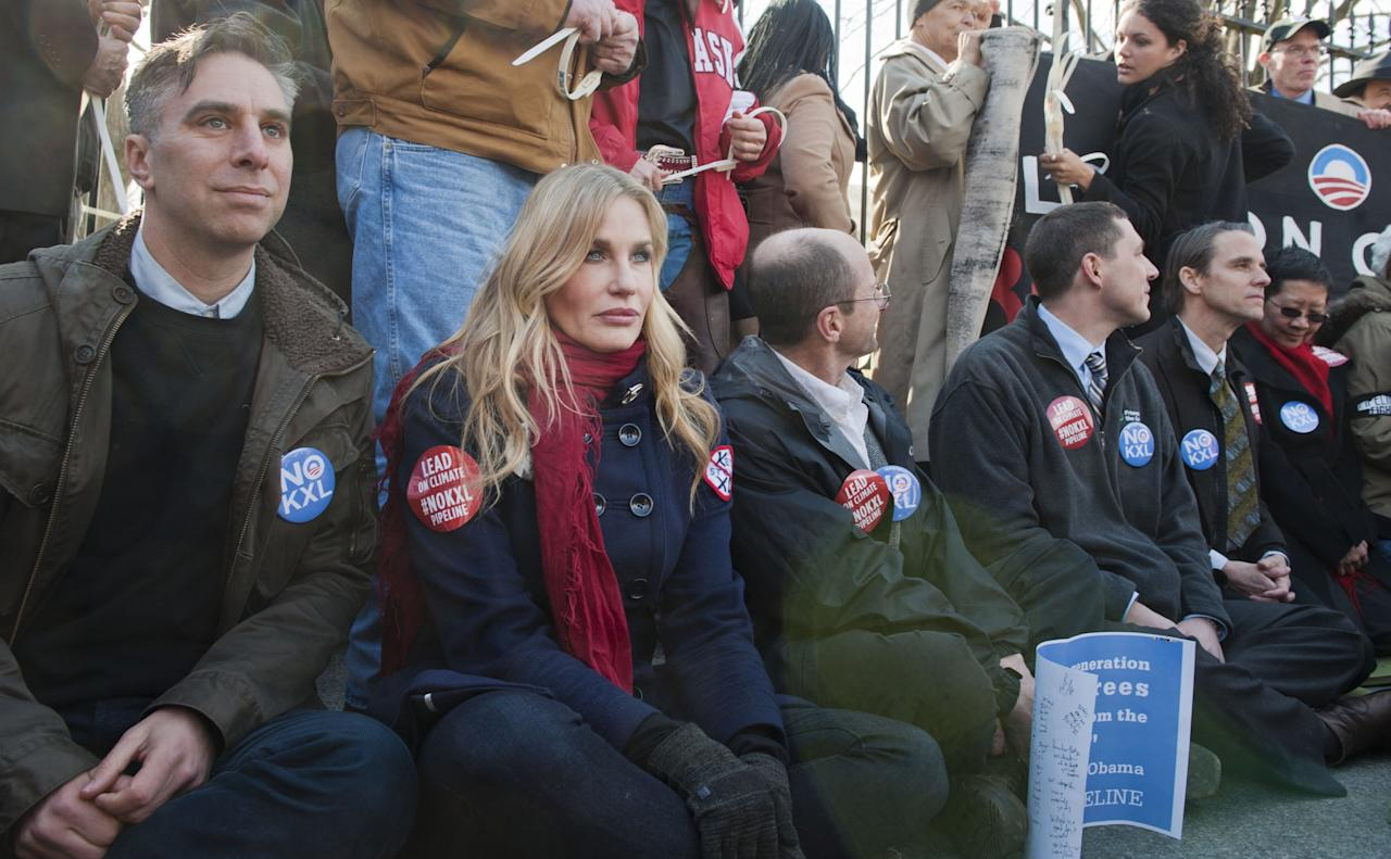 WASHINGTON, DC - FEBRUARY 13: Daryl Hannah protests against Keystone XL Pipeline at Lafayette Park on February 13, 2013 in Washington, DC. (Photo by Leigh Vogel/Getty Images)