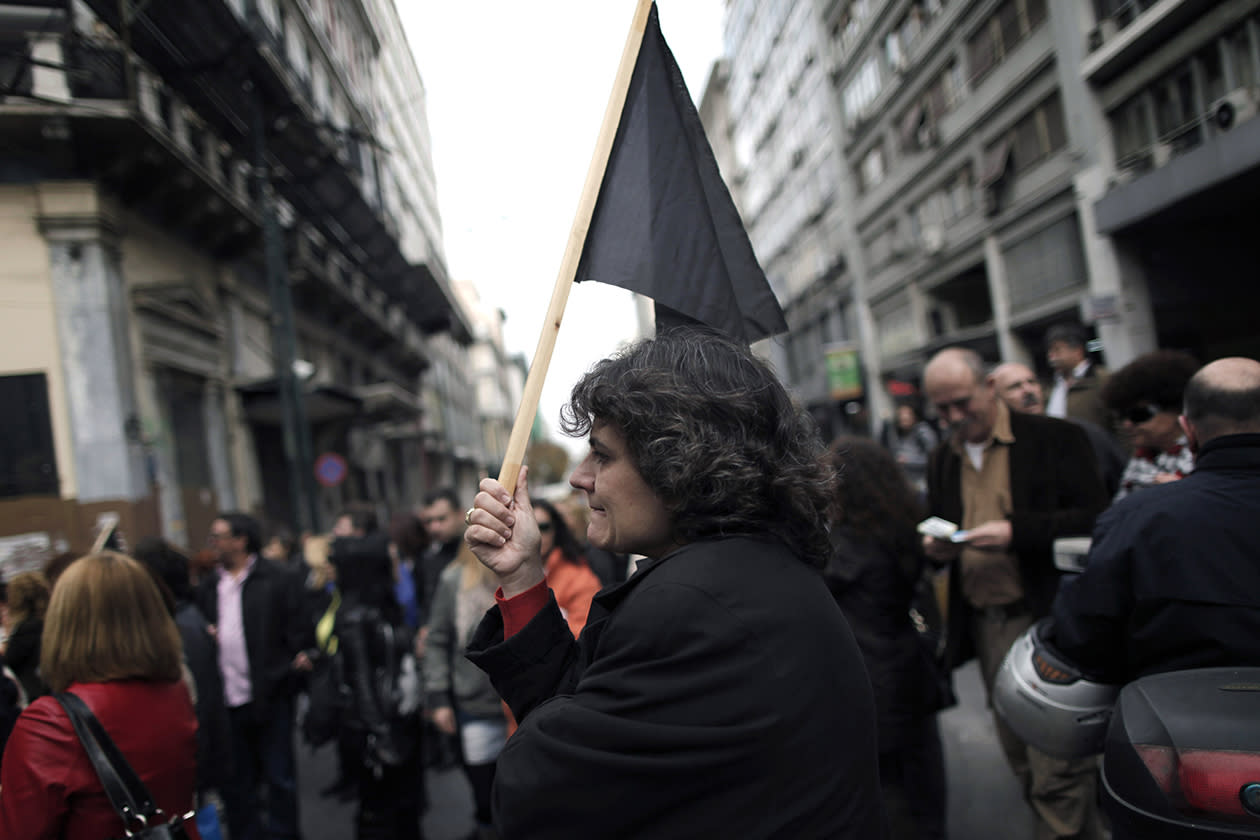 Municipal workers take part in a protest march to the ministry of Administrative Reform in central Athens.