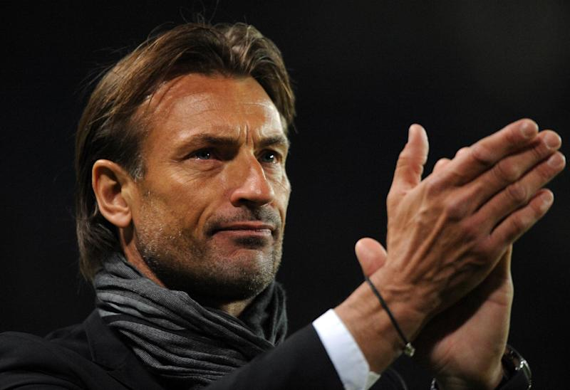 Herve Renard applauds after the French league match between Rennes and Sochaux in western France, on May 10, 2014