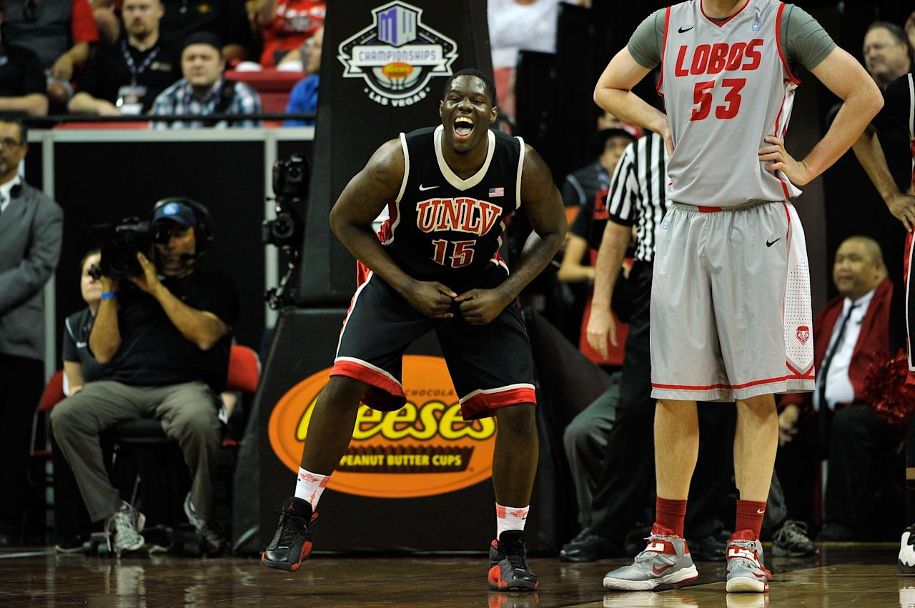 LAS VEGAS, NV - MARCH 16:  Anthony Bennett #15 of the UNLV Rebels celebrates after scoring against the New Mexico Lobos during the first half of the championship game of the Reese's Mountain West Conference Basketball tournament at the Thomas & Mack Center on March 16, 2013 in Las Vegas, Nevada.  (Photo by Jeff Bottari/Getty Images)