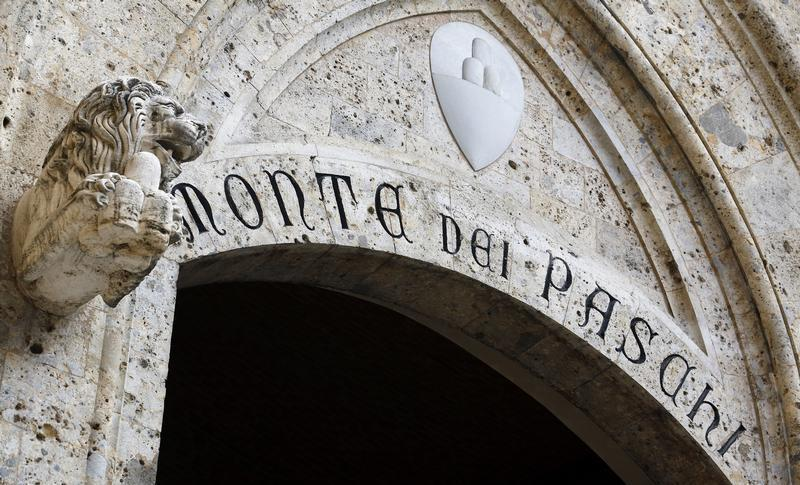 The main entrance to Monte Dei Paschi bank headquarters is pictured in Siena