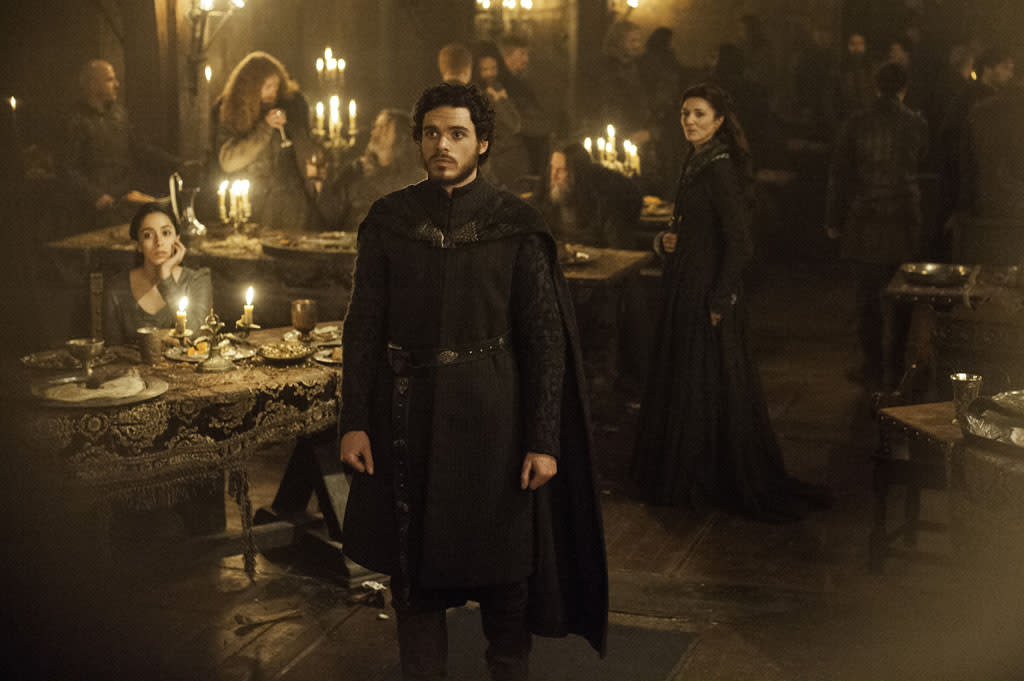 "Oona Chaplin, Richard Madden, and Michelle Fairley in the ""Game of Thrones"" episode, ""The Rains of Castamere."""